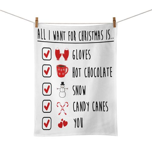 All I Want for Christmas is You Festive Checklist Novelty Gift Tea Towel